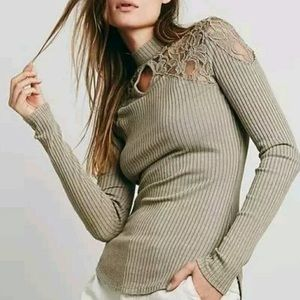 Free People ribbed lace keyhole mock neck top